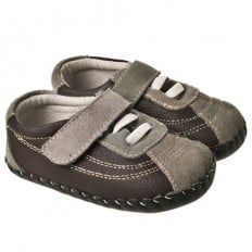 Little Blue Lamb - Baby boys first steps soft leather shoes | Brown and grey sneakers