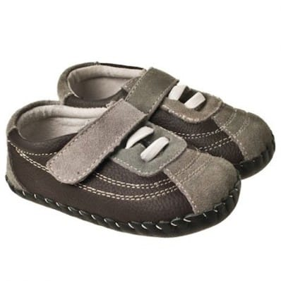 Little Blue Lamb - Zapatos de bebe primeros pasos de cuero niños | Zapatillas de deporte marrones y grises