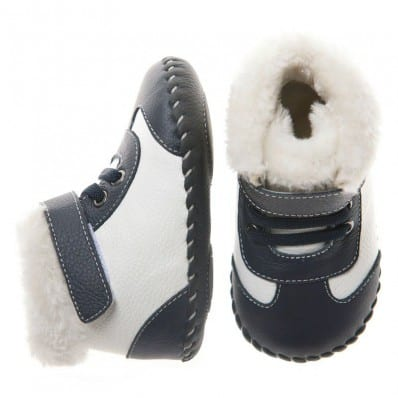 Little Blue Lamb - Baby boys first steps soft leather shoes | Black and white bootees