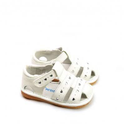 sandales semelles souples à petits coeurs CEREMONIE C2BB - chaussons, chaussures, chaussettes pour bébé