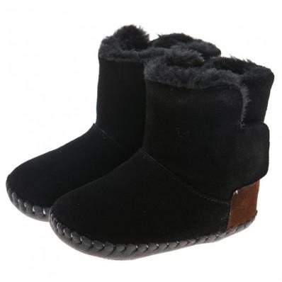 Little Blue Lamb - Chaussures premiers pas cuir souple | Bottines noires talon marron