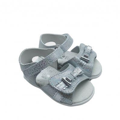 sandales semelles souples ouvertes NOEUD ARGENT C2BB - chaussons, chaussures, chaussettes pour bébé