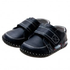 Little Blue Lamb - Baby boys first steps soft leather shoes | Navy blue moccasins