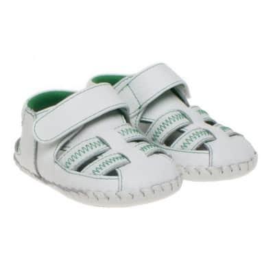 Little Blue Lamb - Chaussures premiers pas cuir souple | Sandales blanches vertes
