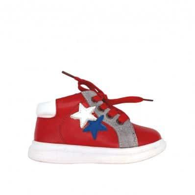 Bottines fourrées en Cuir type Basket Star Red C2BB - chaussons, chaussures, chaussettes pour bébé