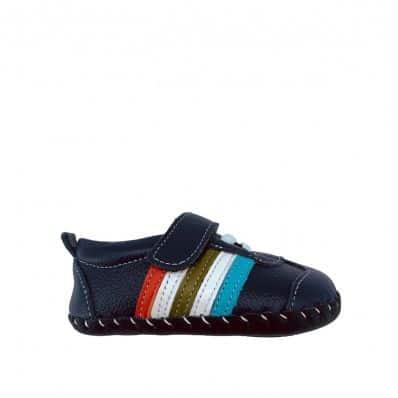 Chaussures premiers pas cuir souple baskets BANDES MULTICOLORES C2BB - chaussons, chaussures, chaussettes pour bébé