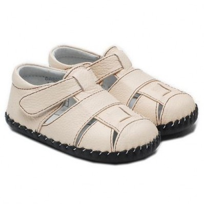 Little Blue Lamb - Baby boys first steps soft leather shoes | Beige Sandals