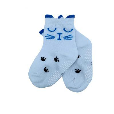 chaussette antidérapante CHAT ENDORMI BLEU C2BB - chaussons, chaussures, chaussettes pour bébé