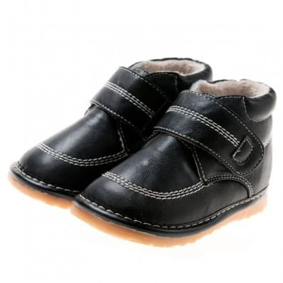 Little Blue Lamb - Squeaky Leather Toddler boys Shoes | Black