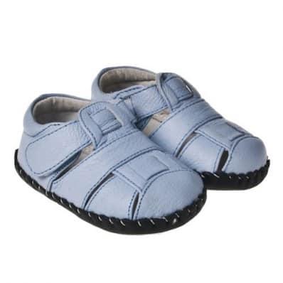 Little Blue Lamb - Chaussures premiers pas cuir souple | Sandales bleu clair