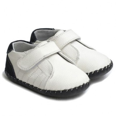 Little Blue Lamb - Baby boys first steps soft leather shoes | White ceremony