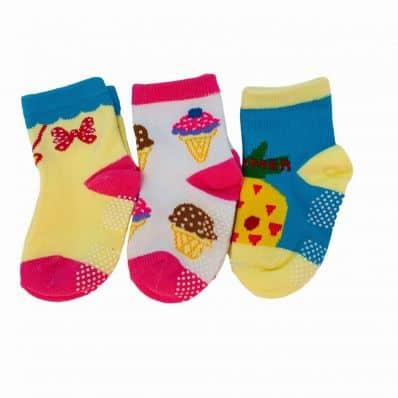 Lot de chaussettes antidérapantes NOEUD, ANANAS, GLACE