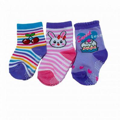 Lot de chaussettes antidérapantes CERISE, LAPIN, LOVE