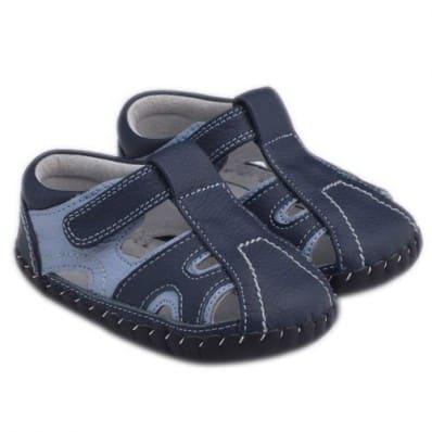 Little Blue Lamb - Chaussures premiers pas cuir souple | Sandales bicolore