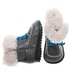 Little Blue Lamb - Krabbelschuhe Babyschuhe squeaky Leder - Jungen | Grau winter stiefel