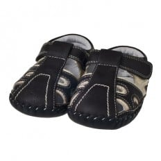 Little Blue Lamb - Baby boys first steps soft leather shoes | Black sandals bicolor