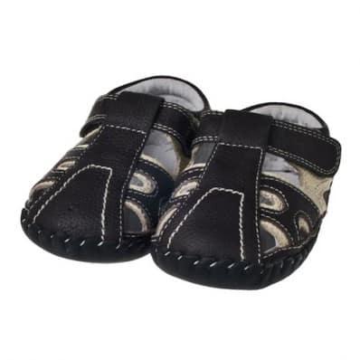 Little Blue Lamb - Chaussures premiers pas cuir souple | Sandales bicolores noires