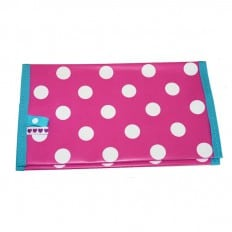 Oilcloth checkbook holder Made in France | Pink white dots