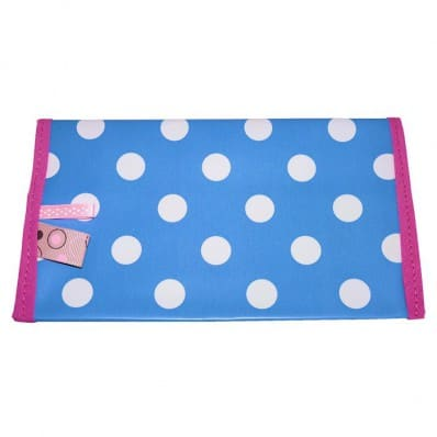 Oilcloth checkbook holder Made in France | Blue with white dots