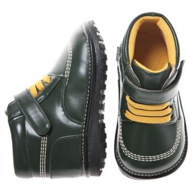 Little Blue Lamb - Chaussures à sifflet | Bottines vert foncé lacets jaunes