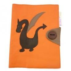 Protège carnet de santé cuir fabrication MADE IN FRANCE | Orange dragon