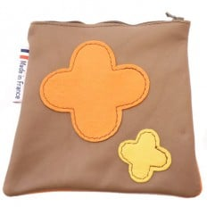 Square leather pocket | 2 crosses