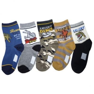 5 paires de chaussettes dinosaures enfant de 4 à 8 ans | Lot A