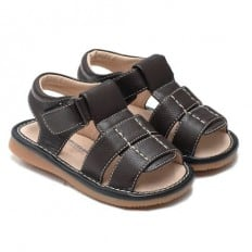 Little Blue Lamb - Squeaky Leather Toddler boys Shoes | Dark brown sandals