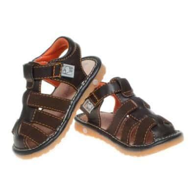 Little Blue Lamb - Chaussures à sifflet | Sandales marron 3 lanières