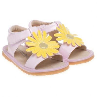 Little Blue Lamb - Scarpine bimba primi passi con fischietto | Cerimonia di sandali di marguerite colore rosa