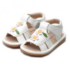 Little Blue Lamb - Squeaky Leather Toddler Girls Shoes | White sandals with 2 pink flowers ceremony
