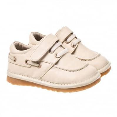 Little Blue Lamb - Chaussures à sifflet | Bateau beige