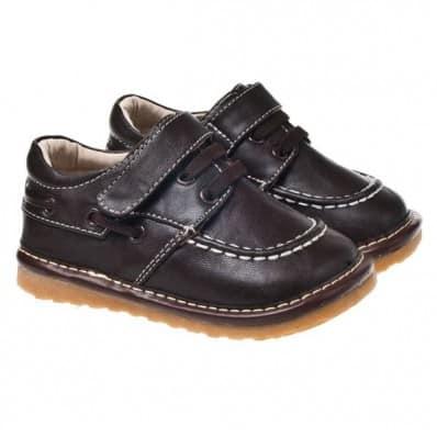 Little Blue Lamb - Chaussures à sifflet | Bateau marron