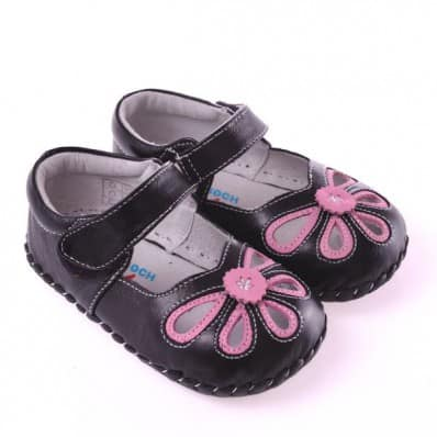 CAROCH - Baby girls first steps soft leather shoes | Black pink sandals