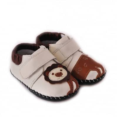 CAROCH - Chaussures premiers pas cuir souple | Baskets blanches lion