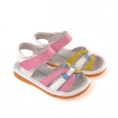CAROCH - Squeaky Leather Toddler Girls Shoes | Pink blue yellow sandals