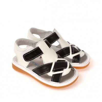 CAROCH - Krabbelschuhe Babyschuhe squeaky Leder - Jungen | Schwarze und weiße Sandalen