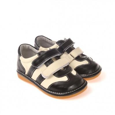 CAROCH - Krabbelschuhe Babyschuhe squeaky Leder - Jungen   Schwarze und weiße sneakers