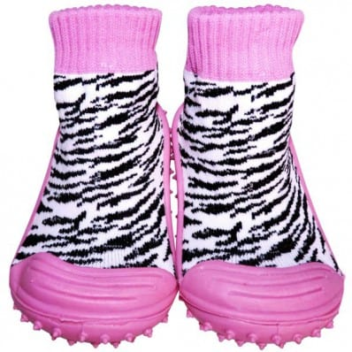 Baby girls Socks shoes with grippy rubber | Zebra