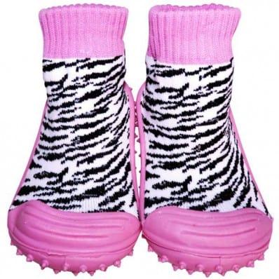 Chaussons-chaussettes enfant antidérapants semelle souple | Zébré rose