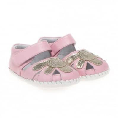 Little Blue Lamb - Chaussures premiers pas cuir souple | Sandales rose argentées