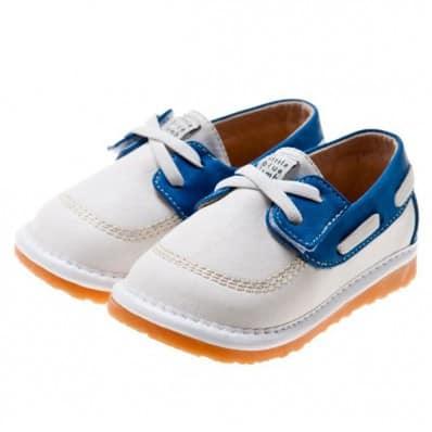 Little Blue Lamb - Scarpine bimba primi passi con fischietto | Bianco e blu