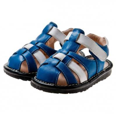 Little Blue Lamb - Squeaky Leather Toddler boys Shoes | White and blue sandals