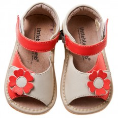Little Blue Lamb - Squeaky Leather Toddler Girls Shoes | Beige red sandals