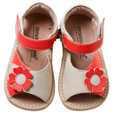 Little Blue Lamb - Zapatos de cuero chirriantes - squeaky shoes niñas | Sandalias margarita beige ceremonia roja