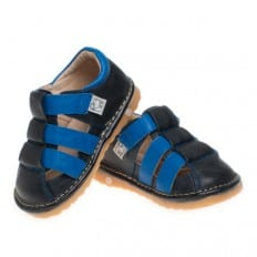 Little Blue Lamb - Squeaky Leather Toddler boys Shoes | Blue and black sandals