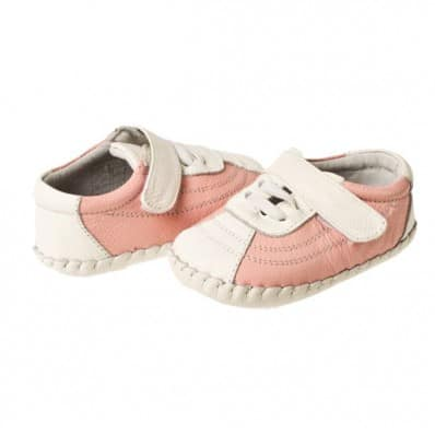 Little Blue Lamb- Baby girls first steps soft leather shoes | Pink and white sneakers
