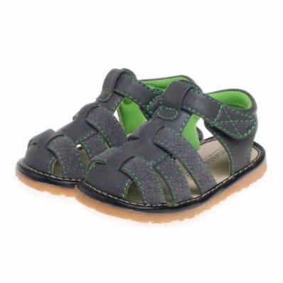 Little Blue Lamb - Zapatos de cuero chirriantes - squeaky shoes niños | Sandalias grises doble verde