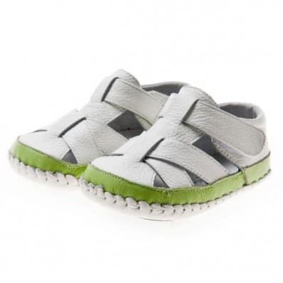 Little Blue Lamb - Chaussures premiers pas cuir souple | Sandales blanches tour vert