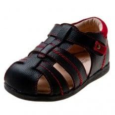Little Blue Lamb - Soft sole boys Toddler kids baby shoes   Black sandals